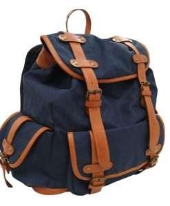 mochila lona azul