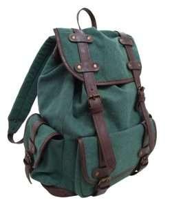 mochila lona verde